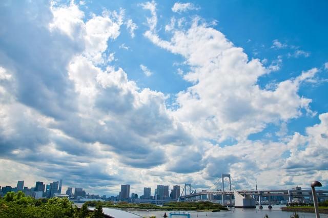 レインボーブリッジと街並み・青空と雲の写真