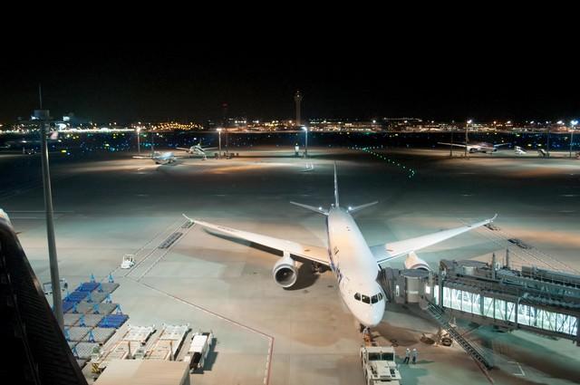 空港展望デッキ(夜)の写真