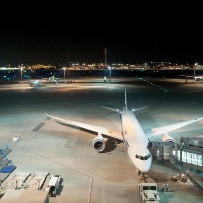 「空港展望デッキ(夜)」の写真素材