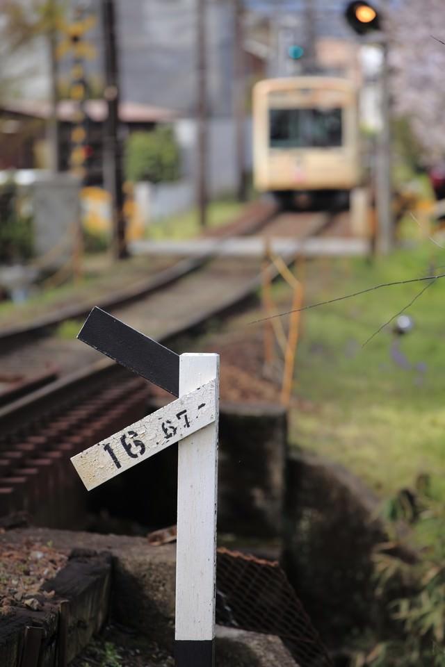 遠くに見える電車と標識の写真