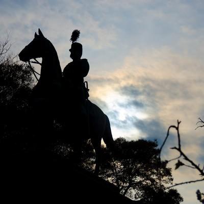 「上野公園 小松宮彰仁親王銅像」の写真素材