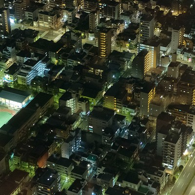 「シムシティのような街(夜景)」の写真素材