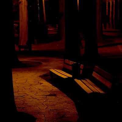 暗闇の公園のベンチの写真