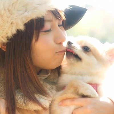 「犬とキス(チュー)する可愛い女の子」の写真素材