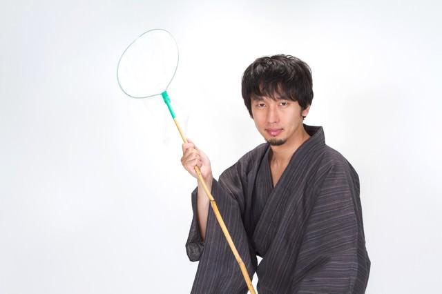 虫あみ浴衣男子の写真