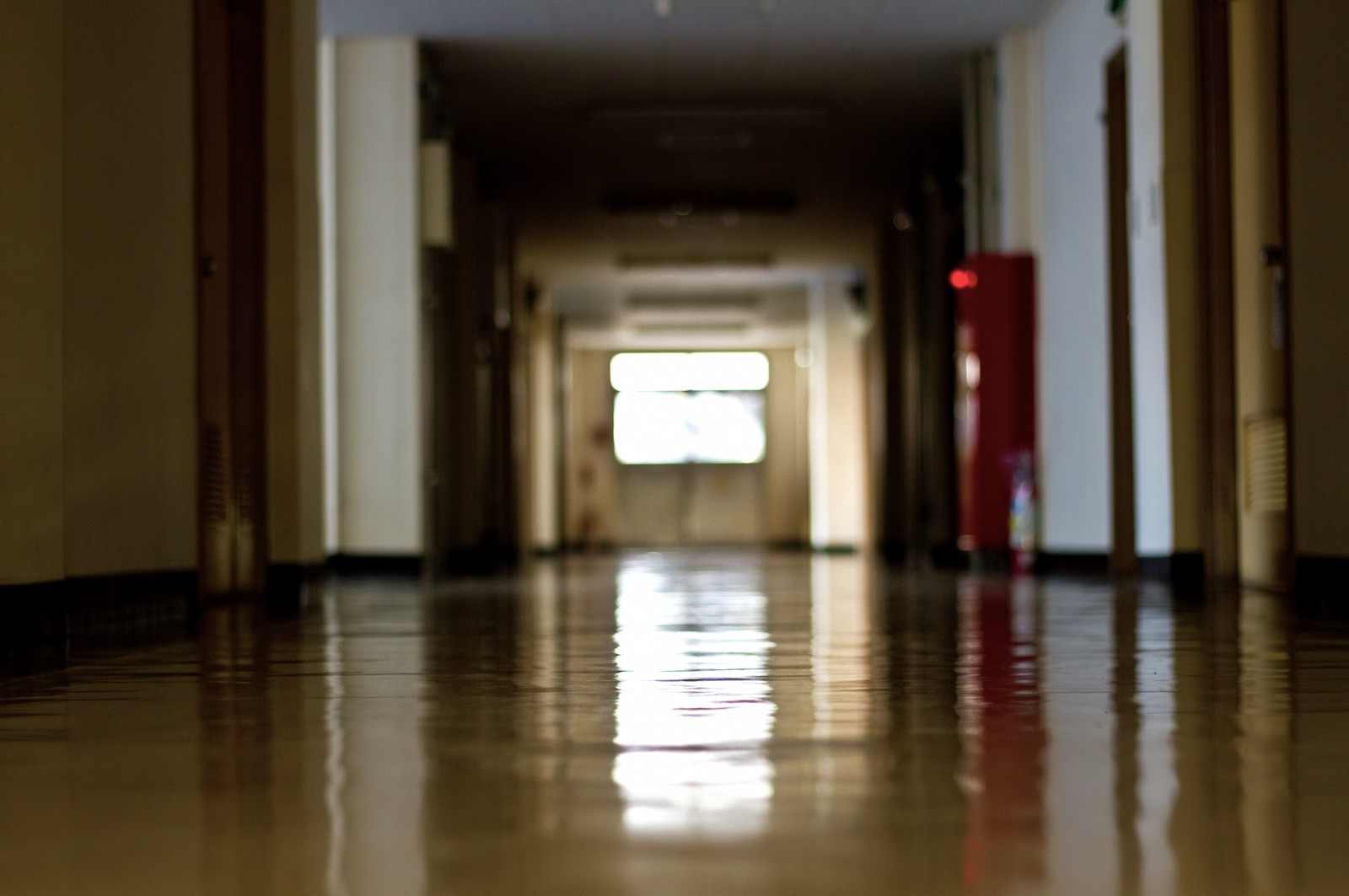 「薄暗い校舎の廊下」