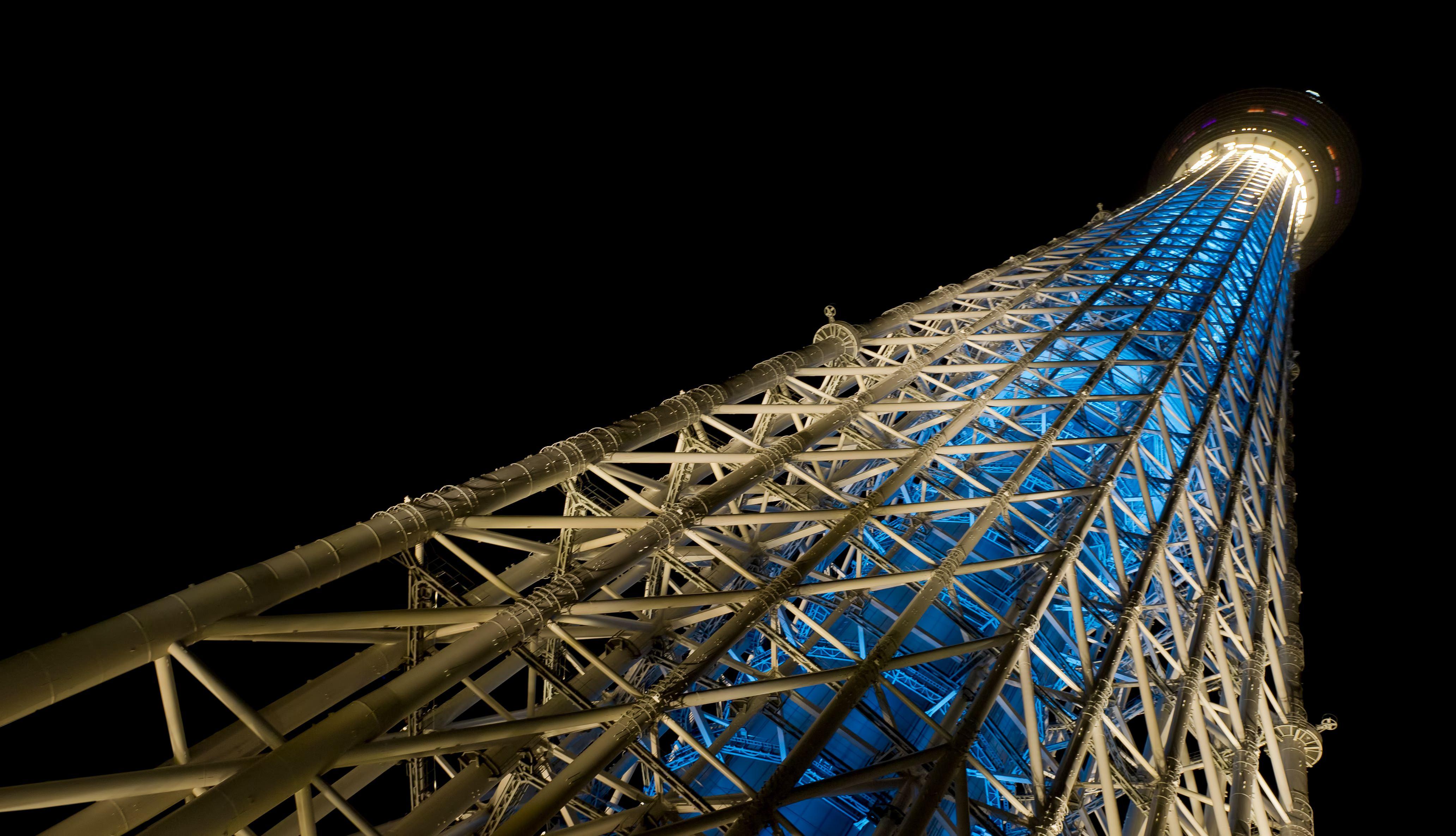 下から見上げるスカイツリー(夜景)の写真素材