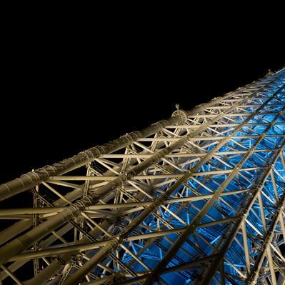 「下から見上げるスカイツリー(夜景)」の写真素材