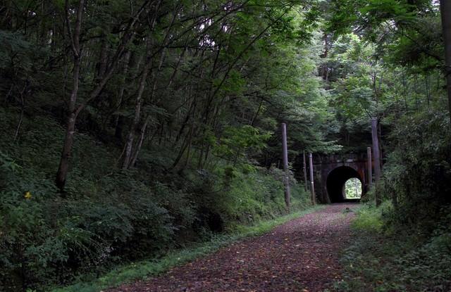 不気味な廃線のトンネルの写真