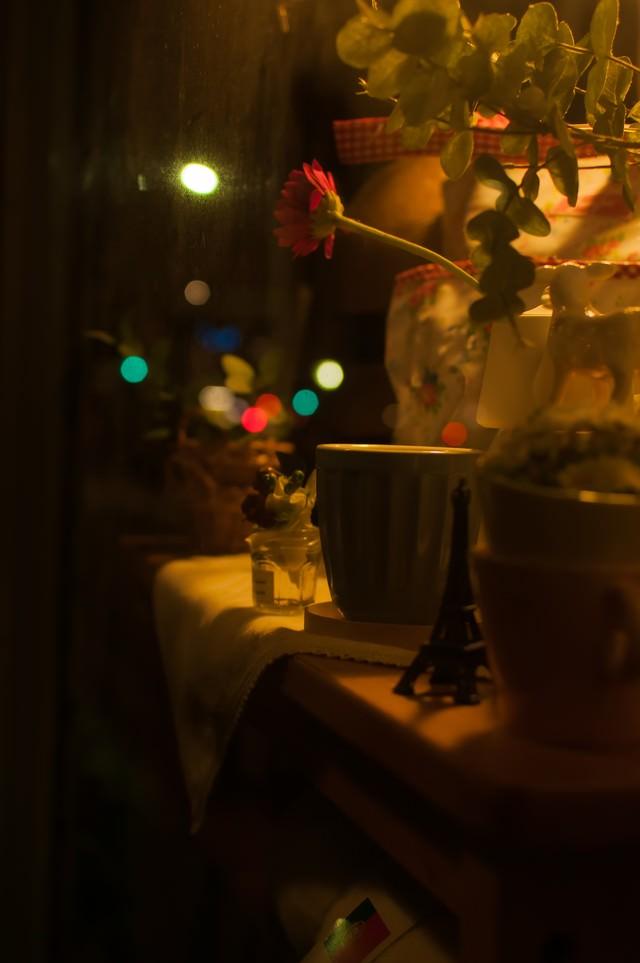 可愛らしい夜のショーウィンドウの写真