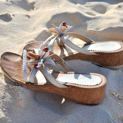 「砂浜とサンダル」の写真素材
