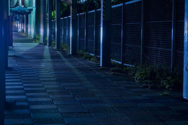光の差す無機質な夜道の写真