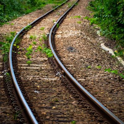 果てしなく続く線路(JR五能線)の写真