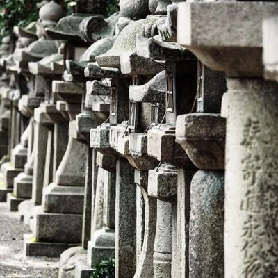 石清水八幡宮本殿に並ぶ石灯籠の写真