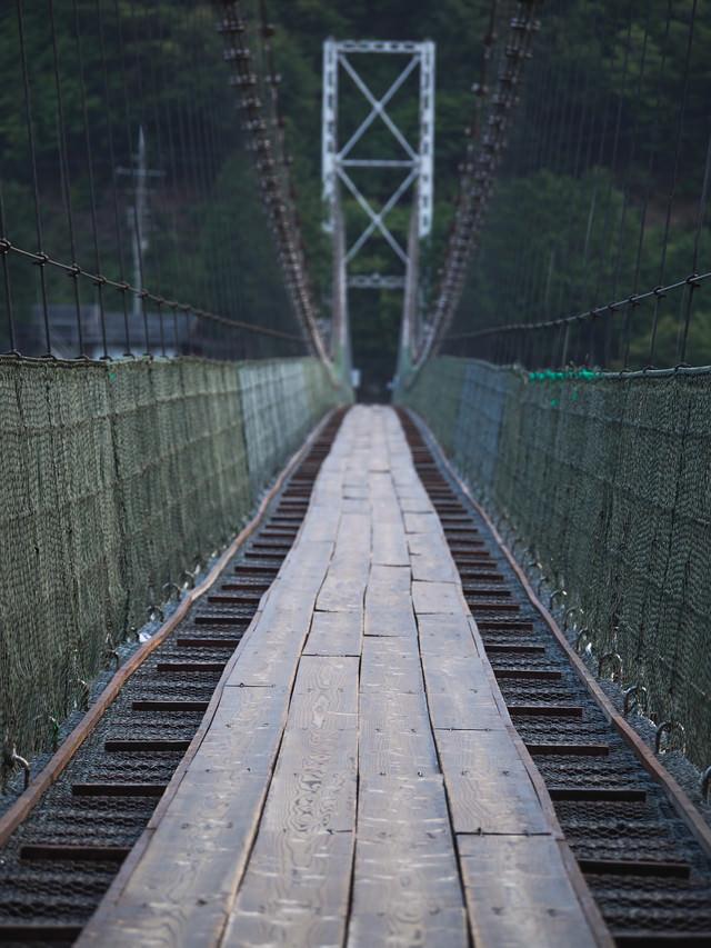 早朝の谷瀬の吊り橋の写真