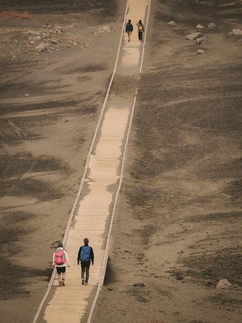 「草千里に敷かれた木道を歩く登山者達」の写真