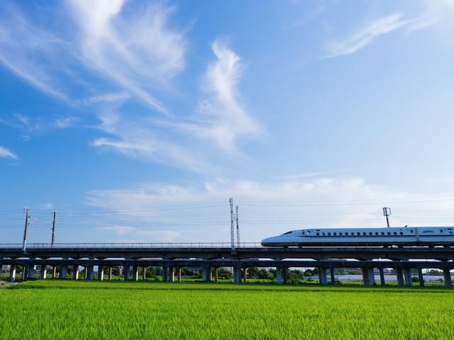 澄み渡る青空とN700系の写真