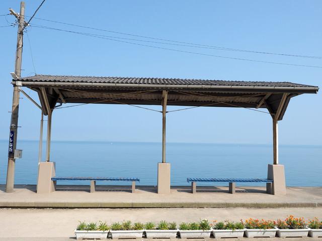 海の見える駅(下灘駅)の写真