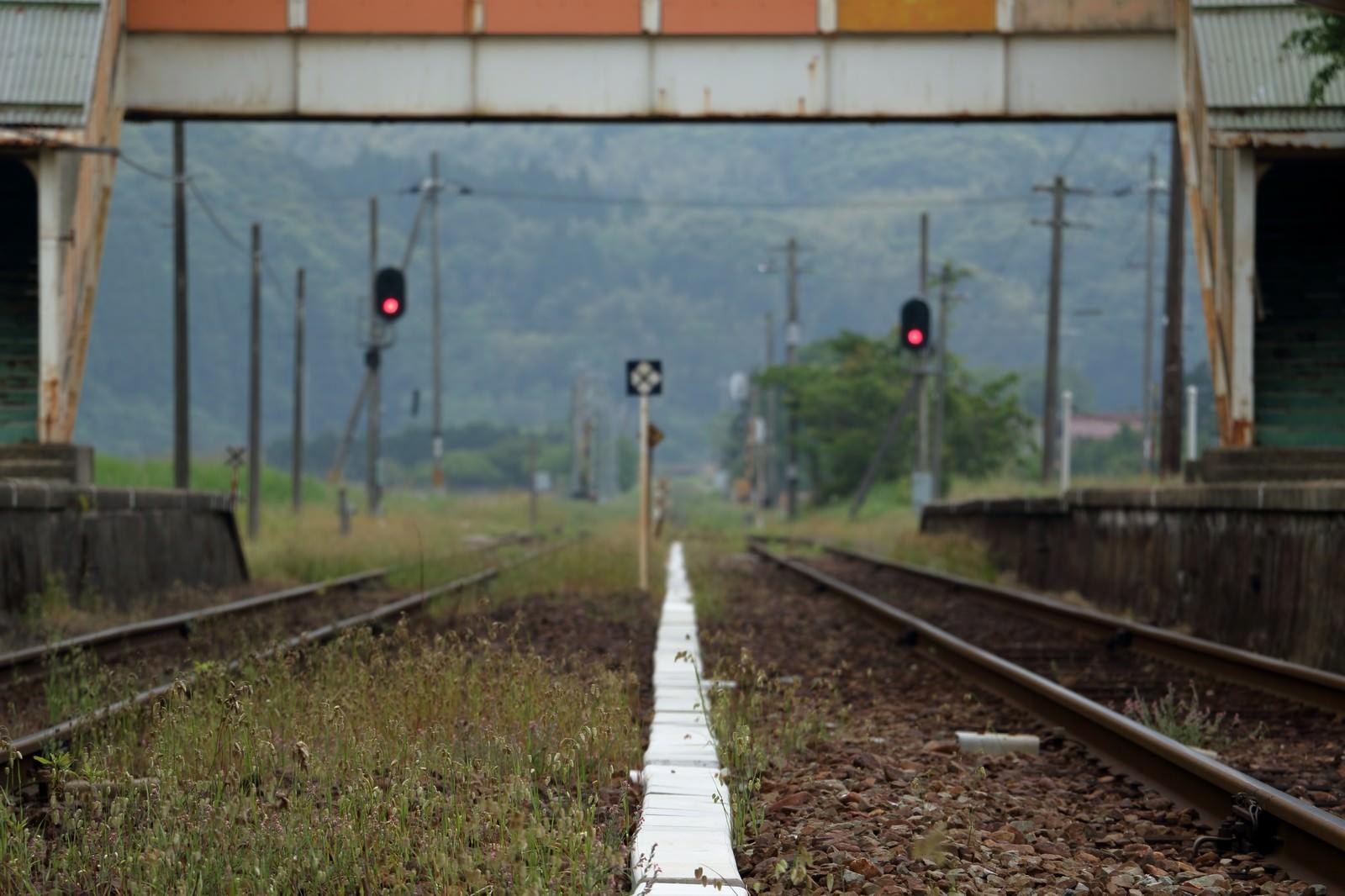 「田舎のホームと線路」の写真
