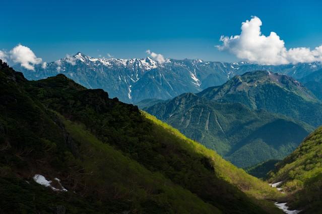 北アルプスを一望できる晴れた日の乗鞍新登山道の写真