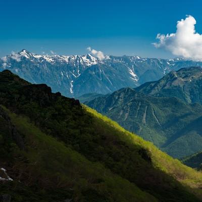 「北アルプスを一望できる晴れた日の乗鞍新登山道」の写真素材