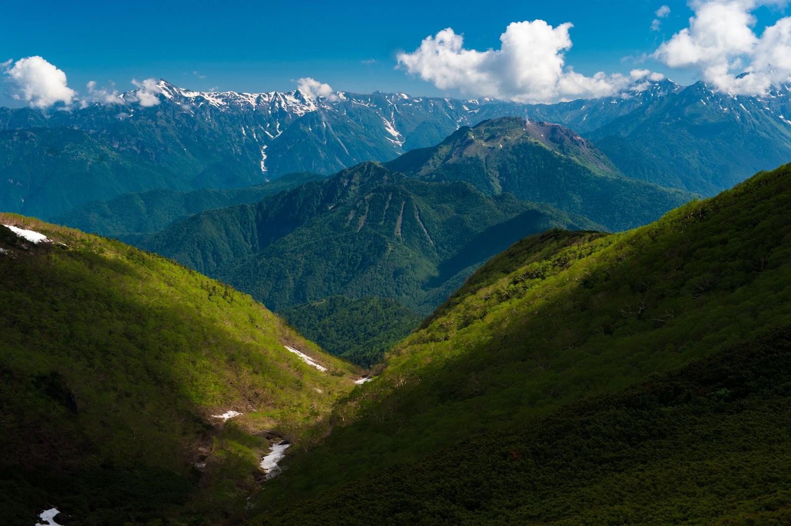 「乗鞍新登山道から見える山々」の写真