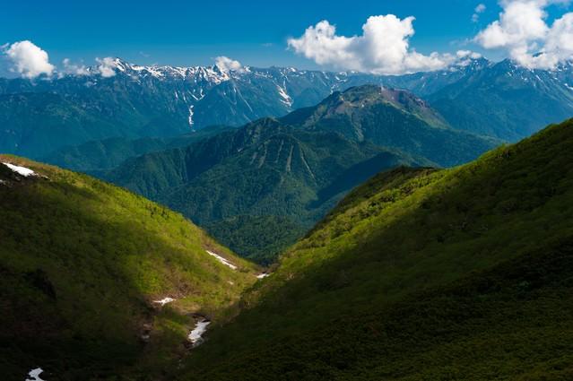 乗鞍新登山道から見える山々の写真