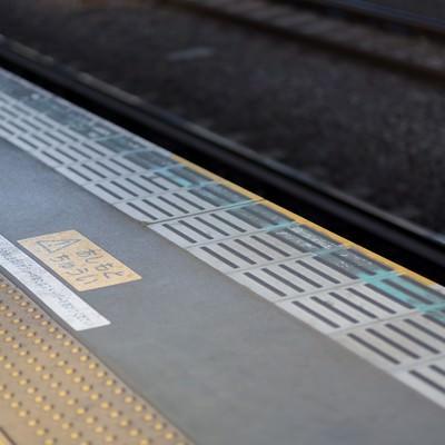 駅のあしもとちゅうい(黄色い線)の写真