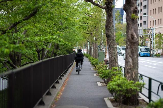 都会を走るメッセンジャーの写真