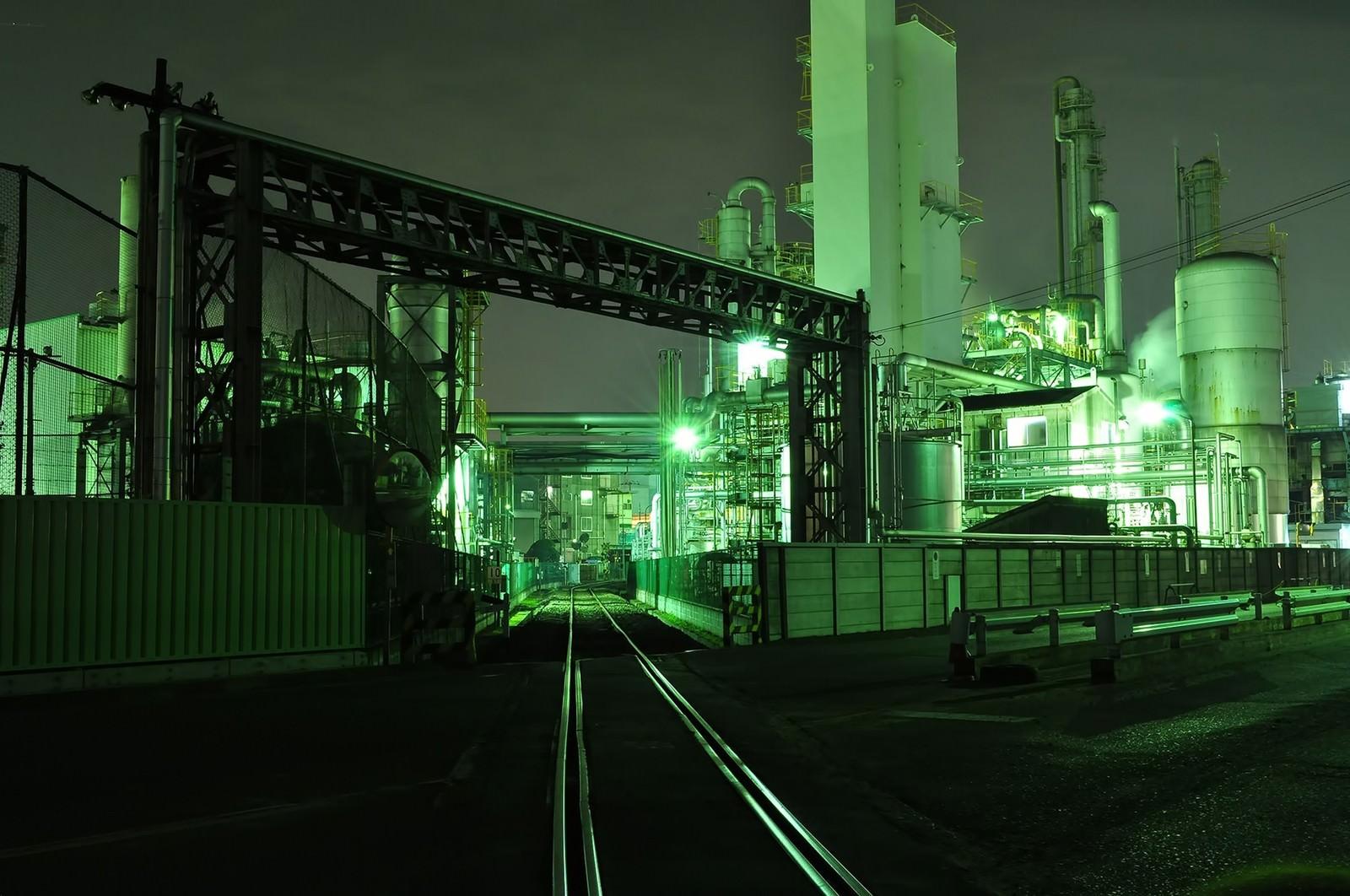 「川崎工業地帯の夜景」の写真