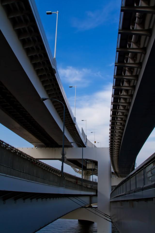 レインボーブリッジ高速道路の下の写真