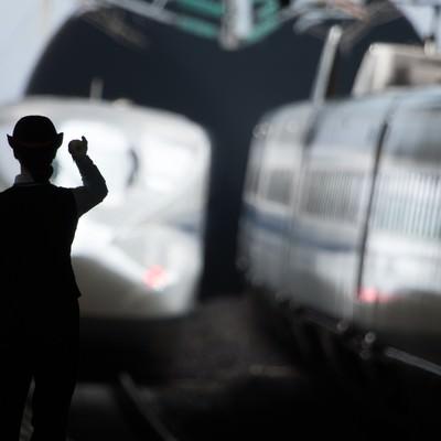 「出発進行(電車)」の写真素材