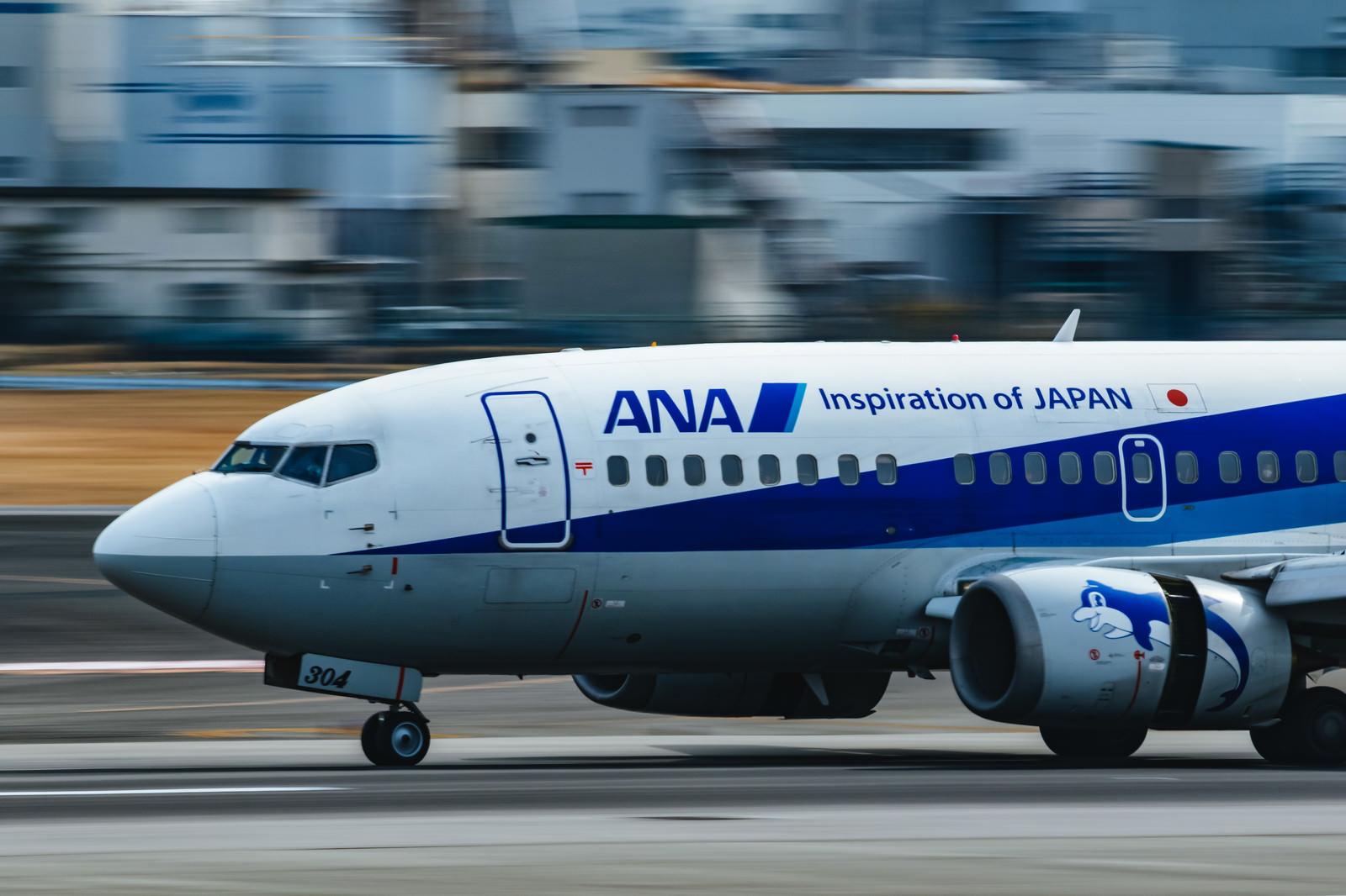 「離陸に向けてスピードをあげる旅客機」の写真