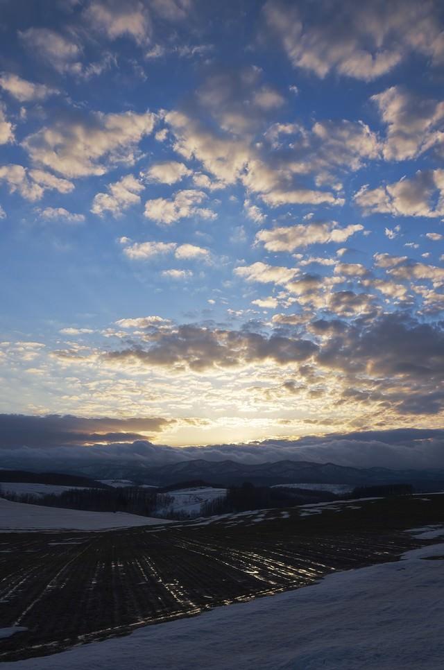 雪解け丘の夕暮れの写真