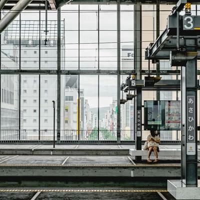 「旭川の駅のホーム」の写真素材