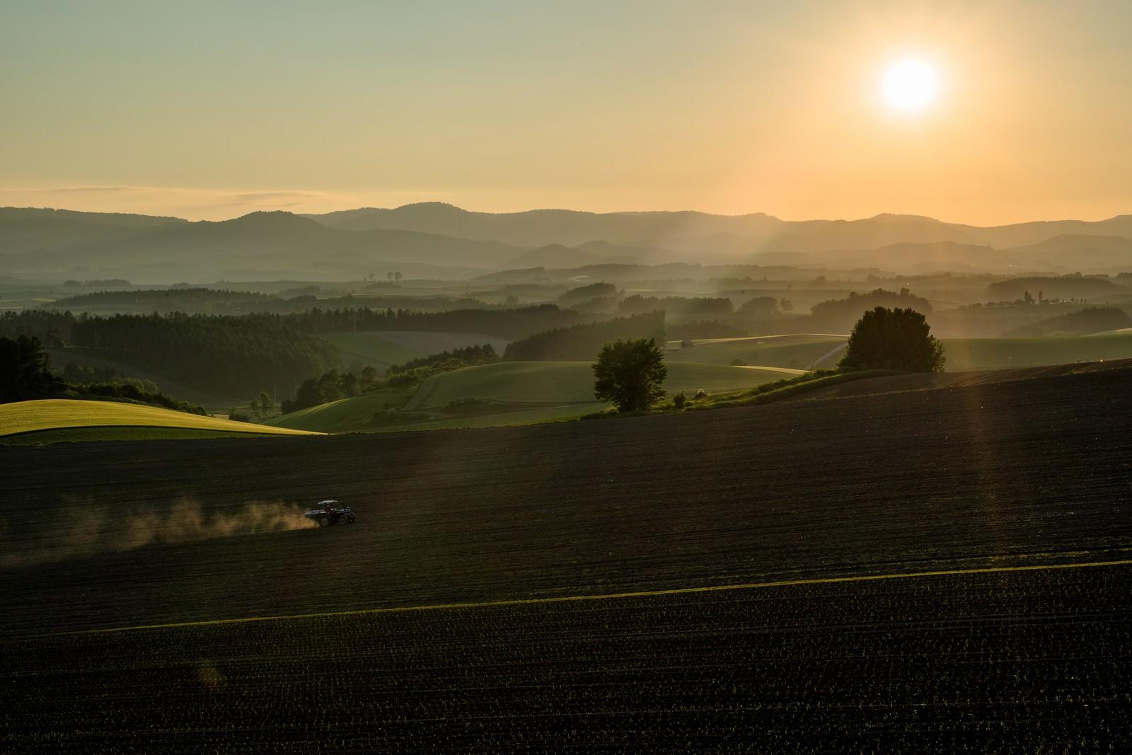 「朝の靄がかかる美瑛の農場とトラクター朝の靄がかかる美瑛の農場とトラクター」のフリー写真素材を拡大