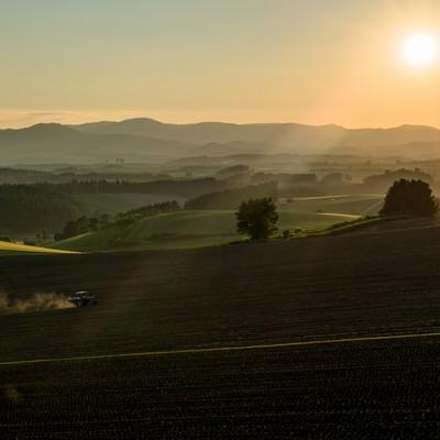 朝の靄がかかる美瑛の農場とトラクターの写真