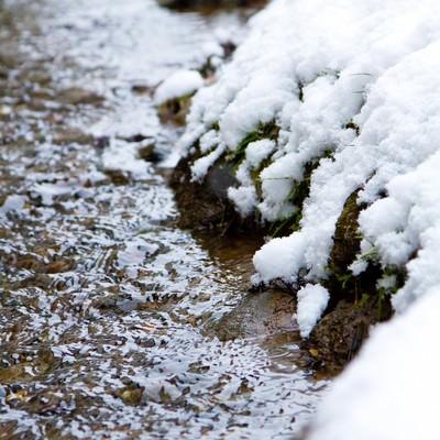 「雪解けの小川」の写真素材