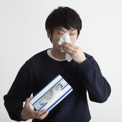 「花粉症に悩まされるティッシュ系男子」の写真素材