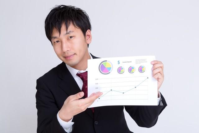 グラフのペラでプランを提案するサラリーマンの写真