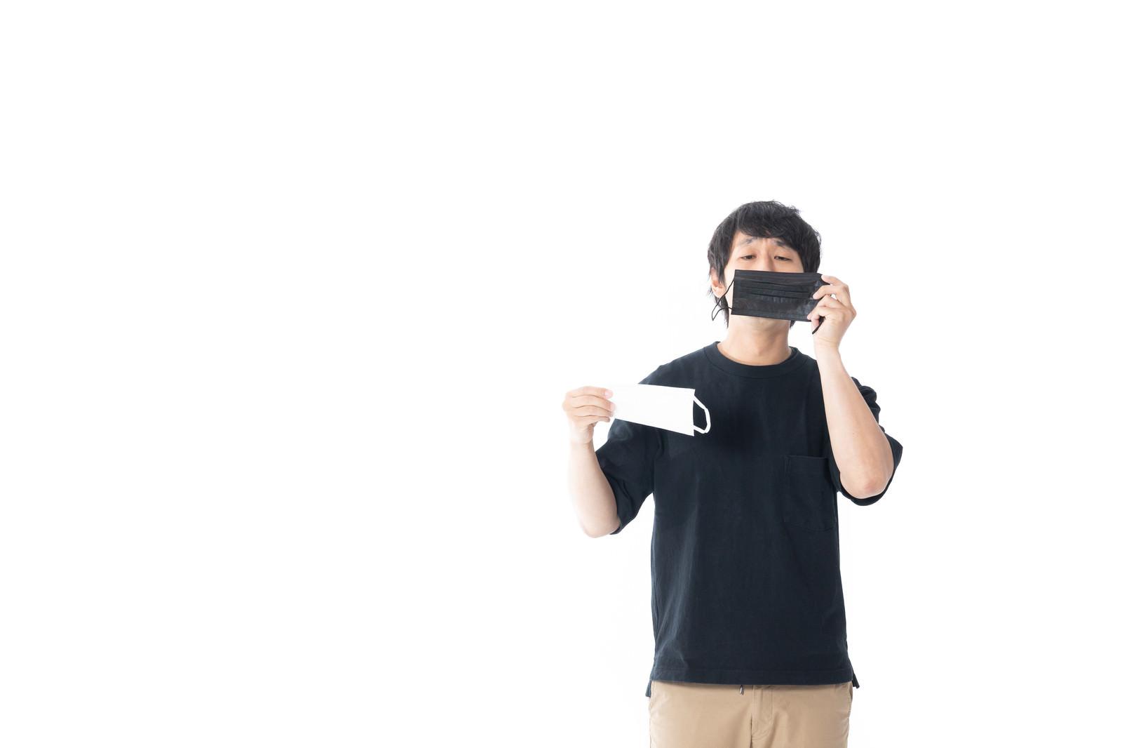 「黒と白のマスク」の写真[モデル:大川竜弥]