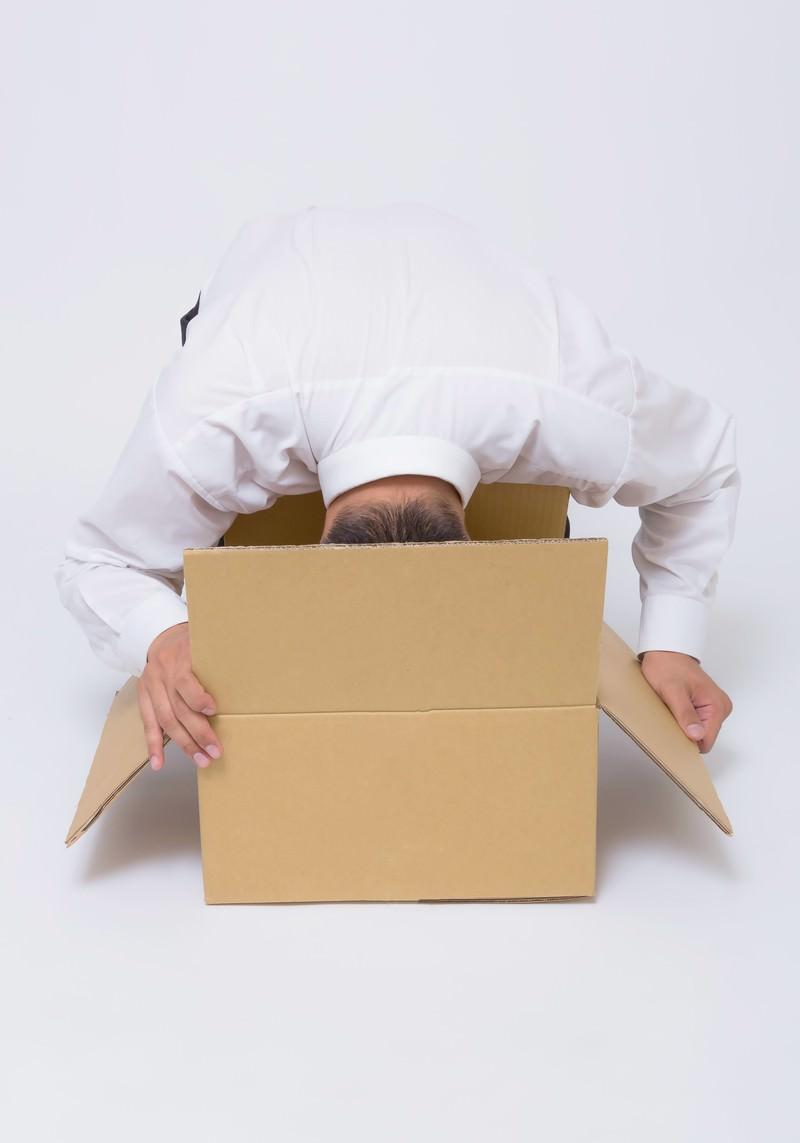 「勢いのあまり、ダンボールに頭を突っ込む男性」の写真[モデル:OZPA]