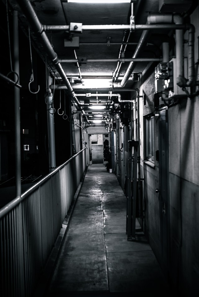 仄暗いマンションの写真