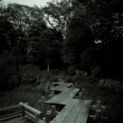 「池の遊歩道(ノイズ)」の写真素材