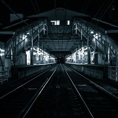「深夜のホームと線路」の写真素材