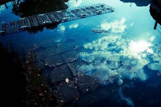 水面に反射する空の写真