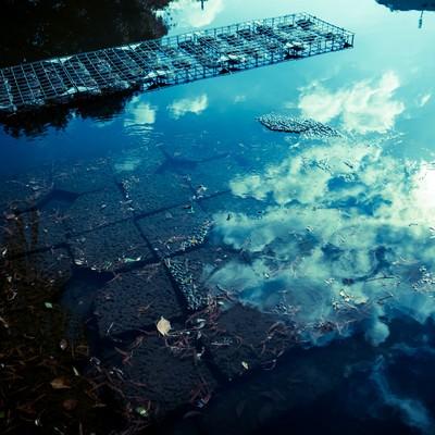 「水面に反射する空」の写真素材