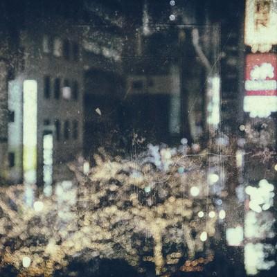 「ライトアップされた繁華街(フィルム)」の写真素材