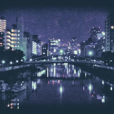 「日も落ちた都会の河川(ノイズ)」の写真素材