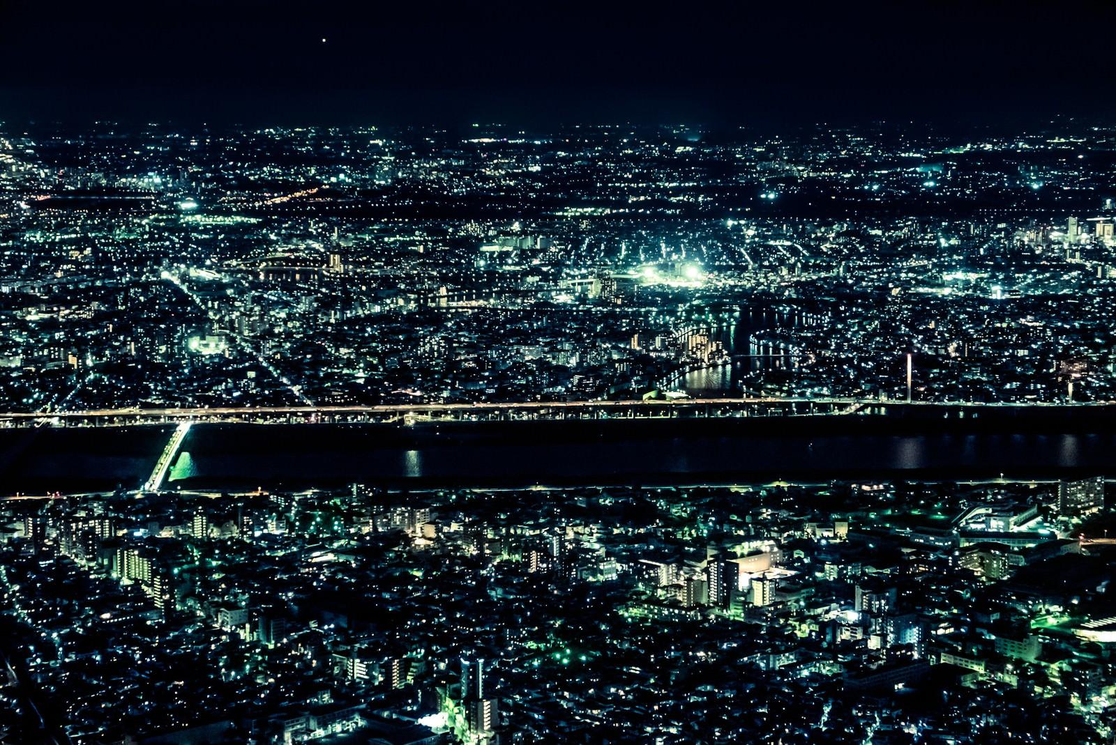 「光り輝く都会の夜景」の写真